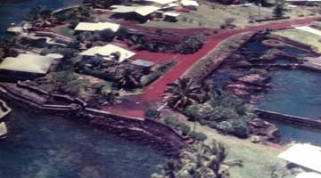 Alapaki Lane circa 1990 - red cinder road to the sea-wall